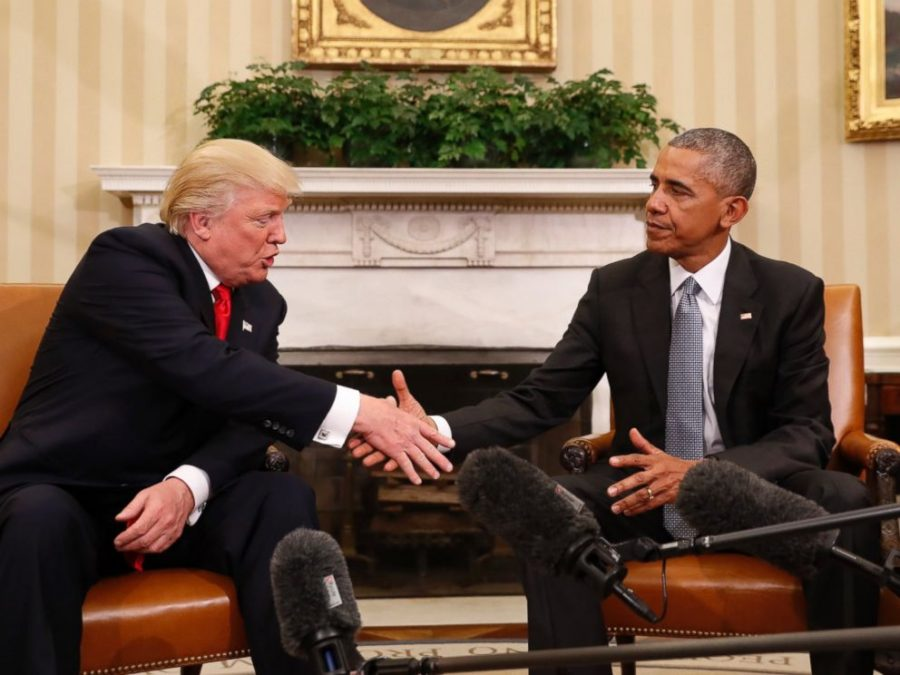 First meeting between presidential nominee Donald Trump and current president Barrack Obama.