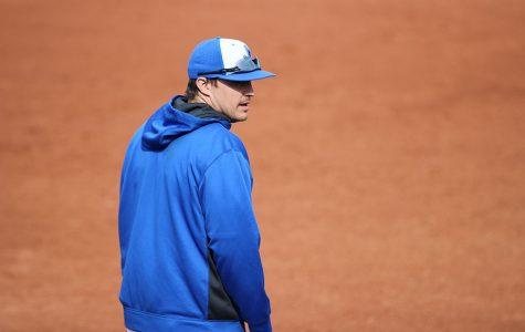 Coach Biery during a baseball game.