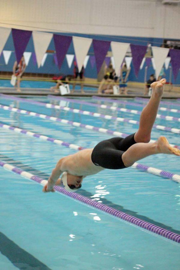 Senior+Logan+Post+dives+into+the+pool.+