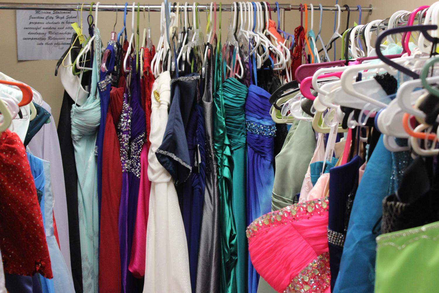Prom dresses are available in room 217.