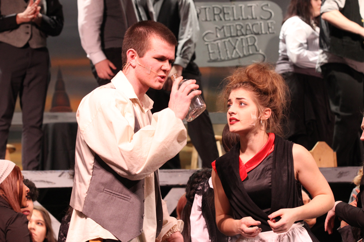 Jac Cummings and Chloe Brass were the leads in the musical acting as Sweeney Todd and Mrs. Lovett