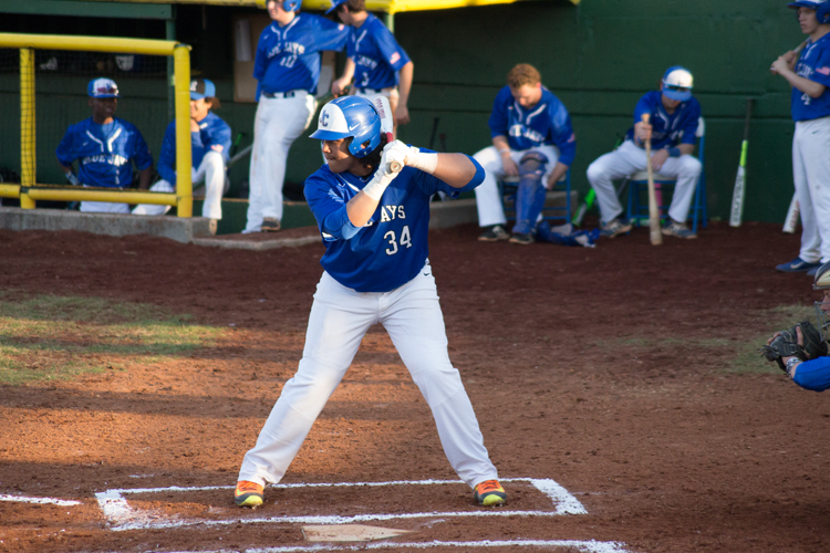 Junior Mauricio Gomena prepares to bat during the Blue and Black scrimmage on Thursday March 22nd.