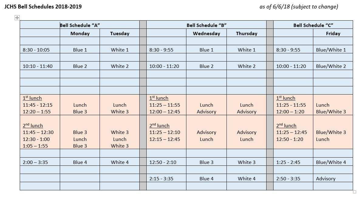 JCHS adopted a new bell schedule for the 2018-2019 year.