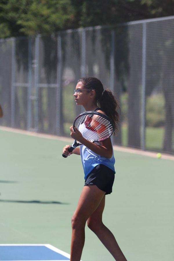 Junior Krysta Talley prepares for a serve from her opponent at a tennis match on August 30.