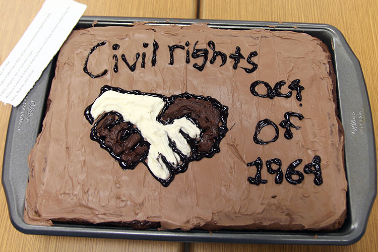 The winning cake, created by Odin Johnston, Warren Smith, and Julian Hill to represent the Civil Rights Act