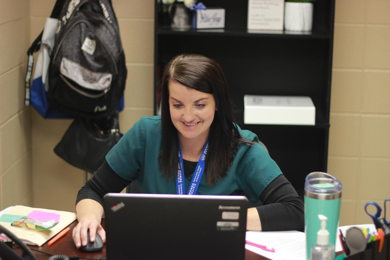 Rachel Lumb serves as a registered nurse in the new Konza Health Clinic   office on campus.