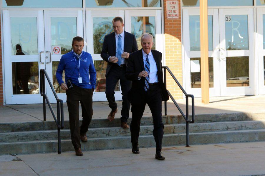 Senator Jerry Moran met with Athletic Director Matt Westerhaus prior to his school tour.