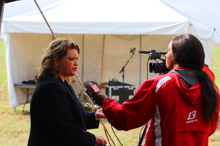 Principal Melissa Sharp speaks with the media during the ground breaking ceremony on October 5th.