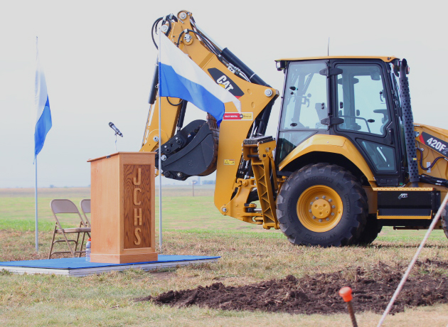 Members of the community gathered for a ground breaking ceremony for the new high school.