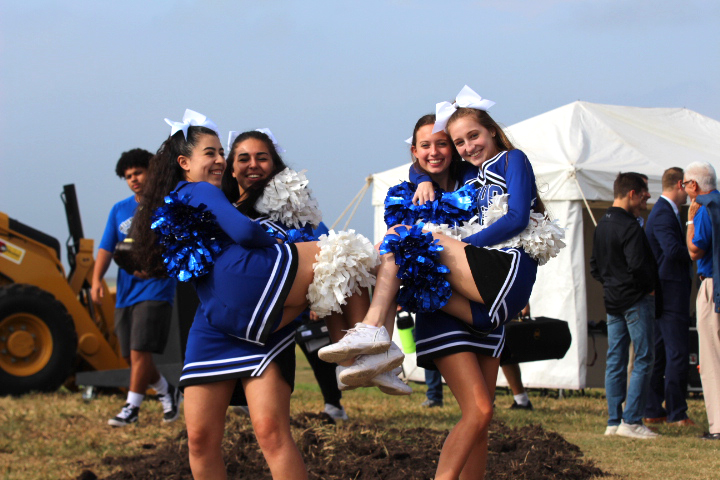 Members of the cheer team pose for a picture at the ground breaking Ceremony on October 5th, 2018.