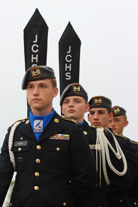 JROTC cadets Brayden Webb,  Jon Smith ,  Ayden Roe, and Jordan Marini-Linnean provide the color-guard at the ground breaking ceremony