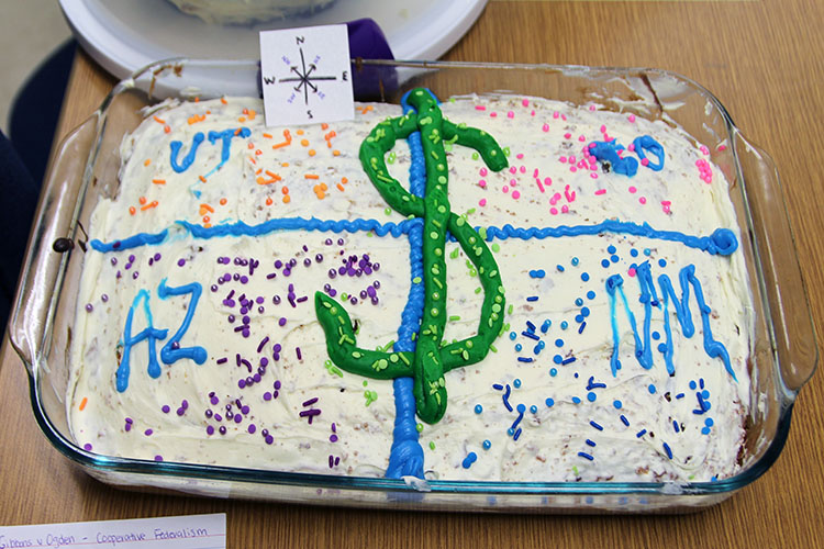 A cake made to represent Gibbons v. Ogden created by Lexe West, Morgan Deering, and Colby West