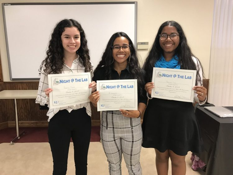 Alidsha Vazquez-Centeno (Senior), Patricia Cruz Santos (Senior), and Paloma Picazo (Senior) holding their certificates from North-Central Regionals.