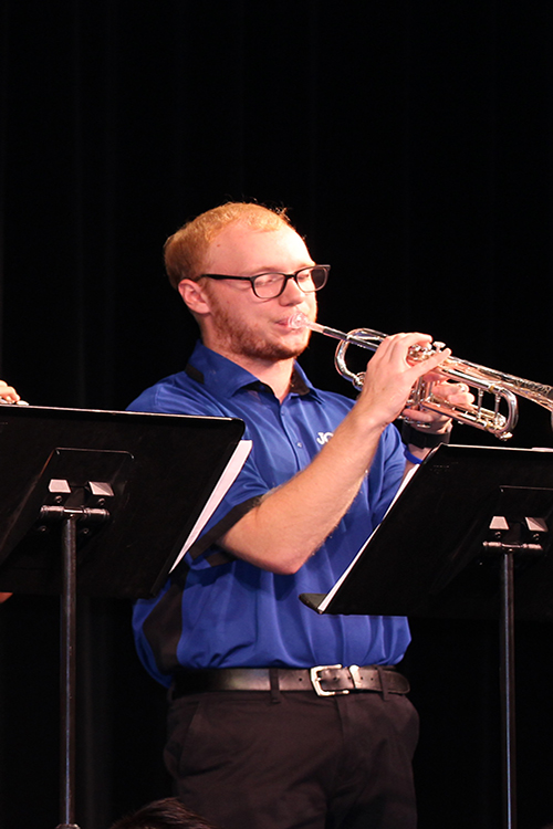 Senior Jared Benton plays the trumpet at a Jazz Band concert on September 26, 2018.
