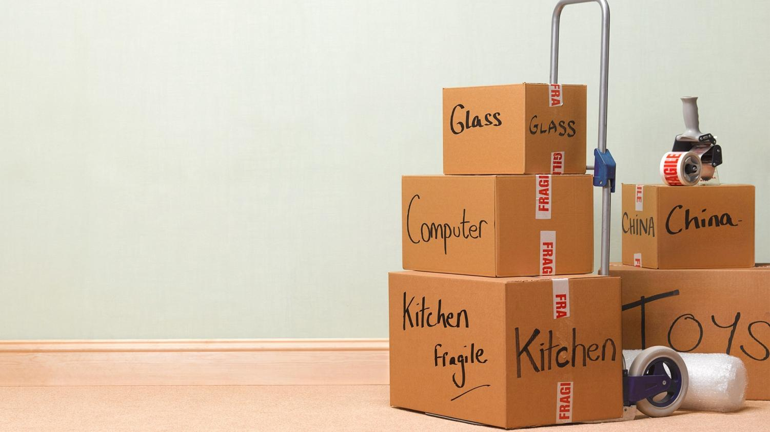 Label your boxes to keep things organized.