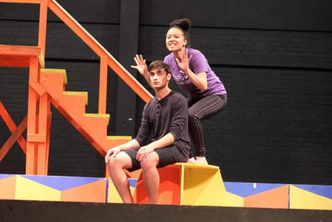 "Senior Nicholas (Nico) Paradas and junior Payton Tabb  perform ""On the Right Track"" during rehearsal of Pippin, the spring musical production."