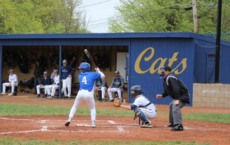 Because of the reconstruction of the baseball field at Rathert Stadium, the baseball team has been unable to play any home games this season. Junior Joel Nieves at bat on the road against Hayden on April 23.
