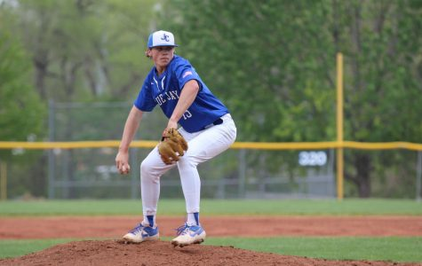 Senior Thane McDaniel pitches against Hayden on April 23.